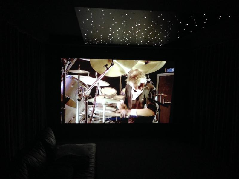 Big screen with hidden speakers and starlight ceiling